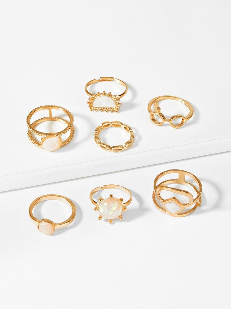 Double Layered Ring Set 7Pcs - Rings