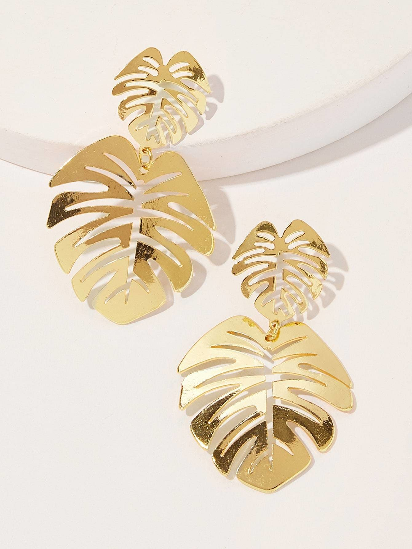 Double Leaf Shaped Drop Earrings 1pair