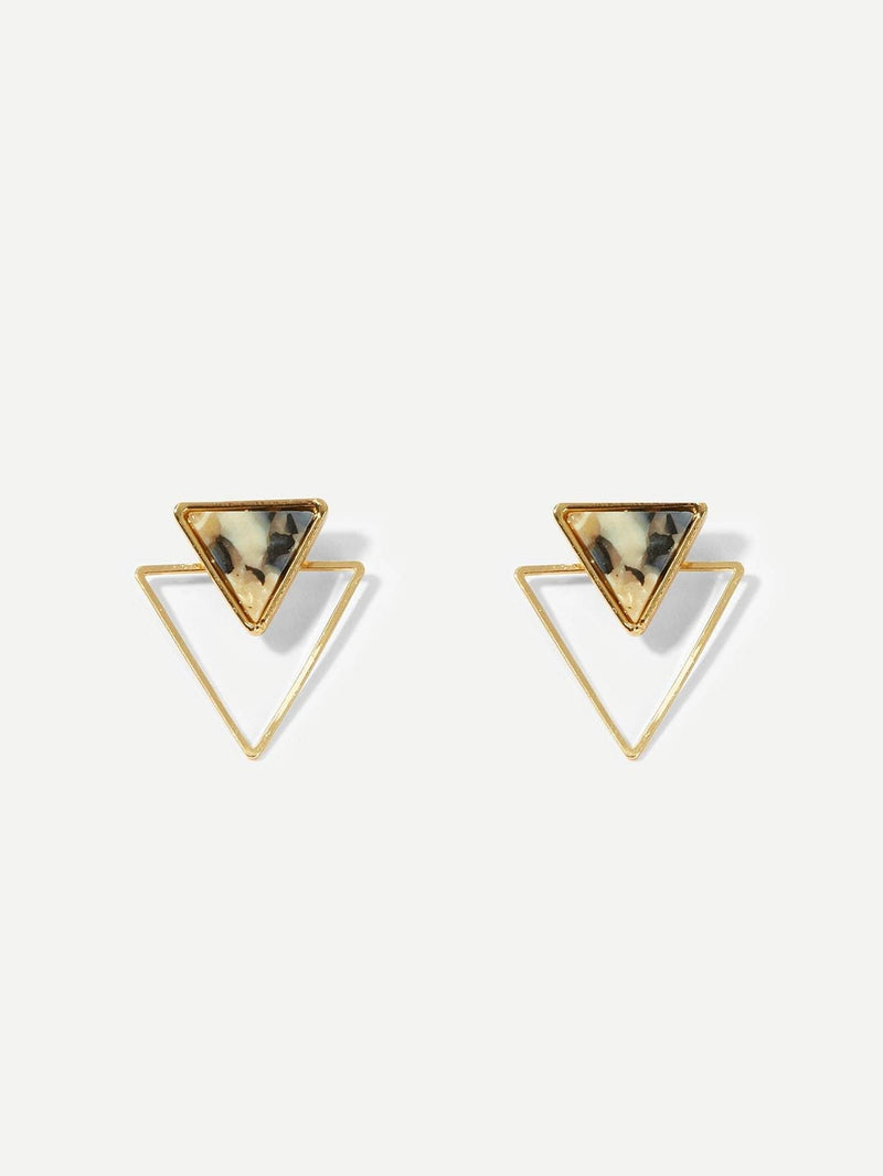 Double Triangle Open Stud Earrings - Earrings