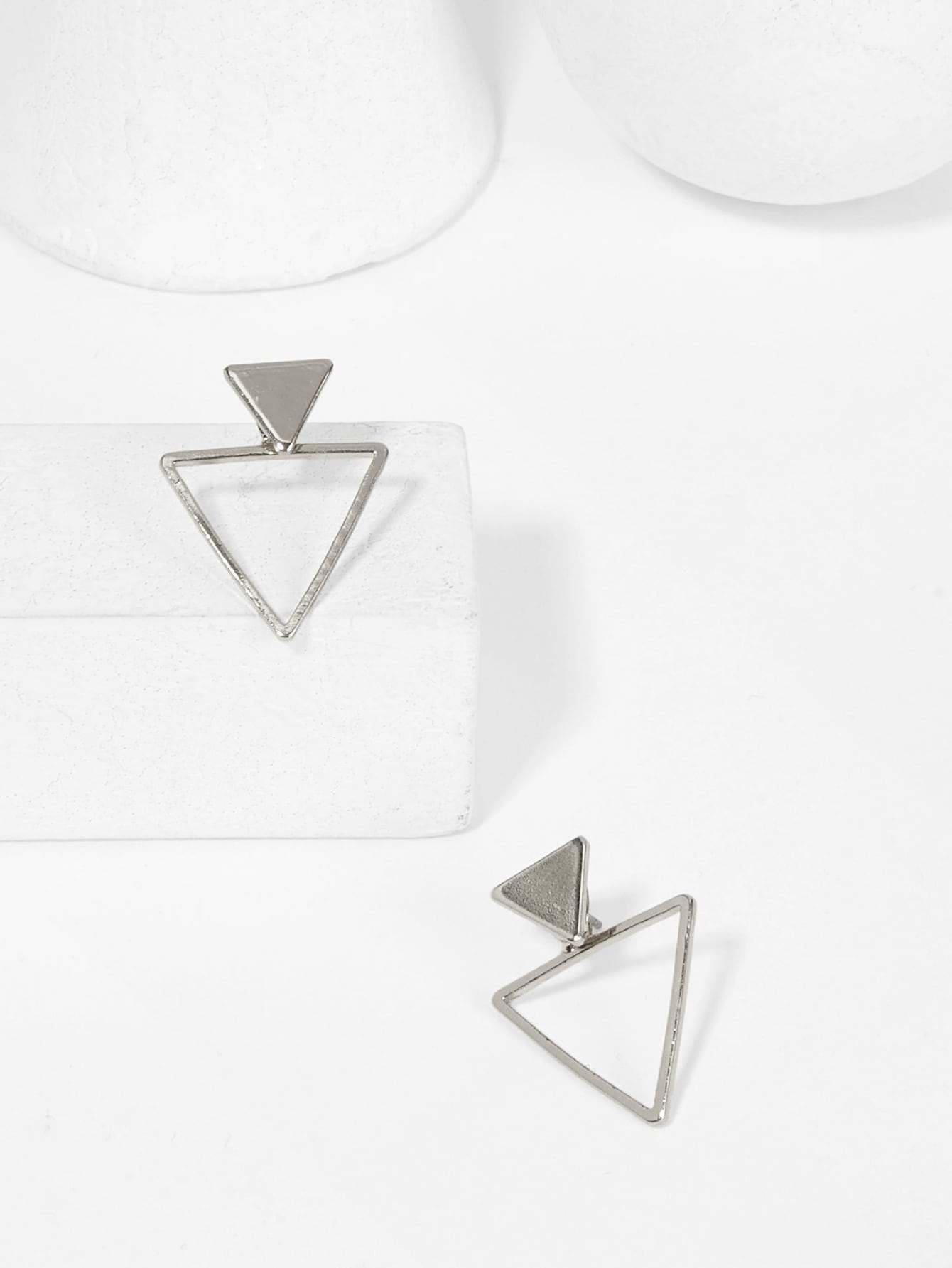 Double Triangle Shaped Stud Earrings - Earrings