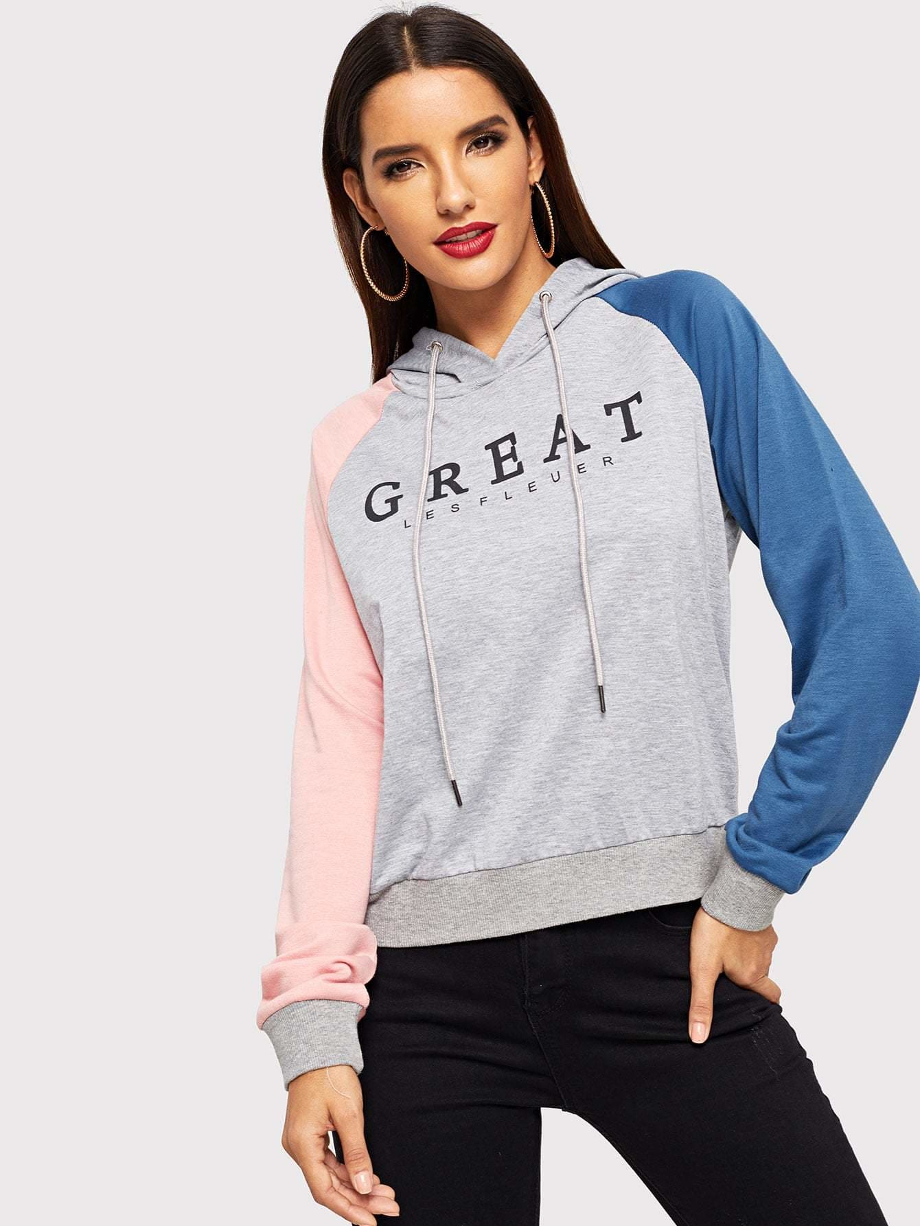 Drawstring Color Block Letter Hoodie - Gym Tops