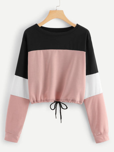 Drawstring Hem Color Block Sweatshirt - Gym Tops