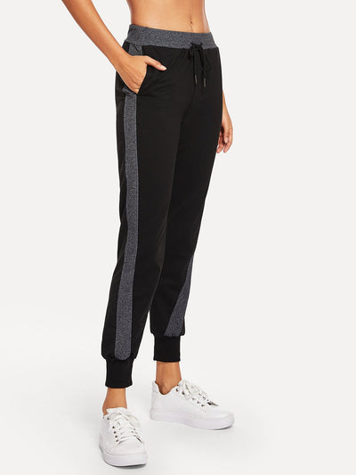Drawstring Waist Colorblock Pants - Fittness Leggings