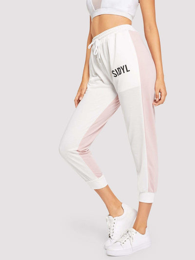 Drawstring Waist Letter Print Colorblock Pants - Fittness Leggings