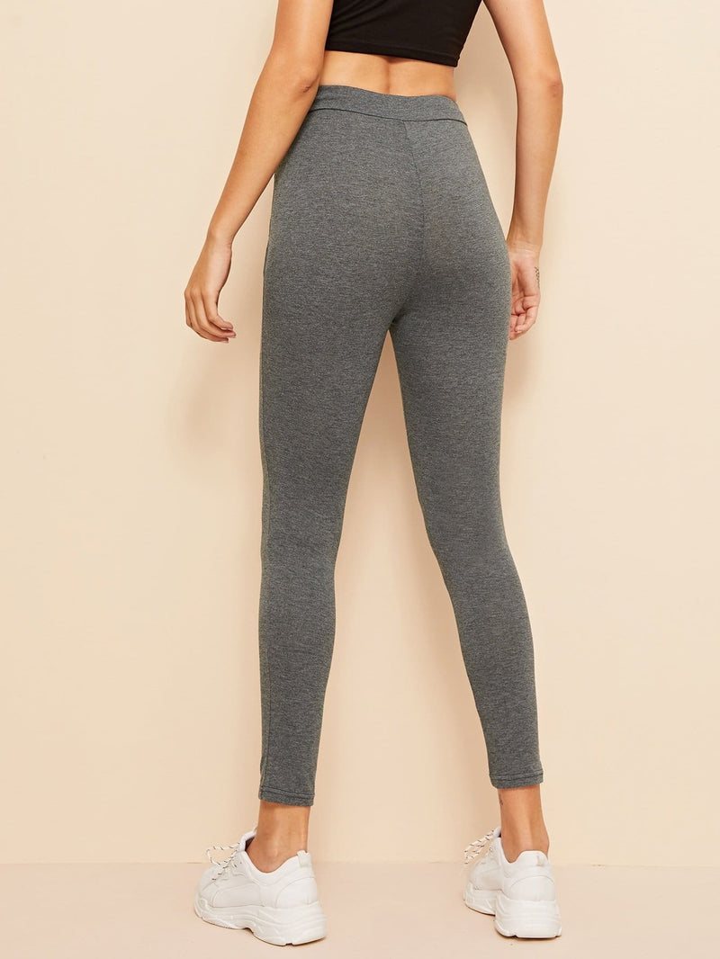 Drawstring Waist Marled Pants - S - Fittness Leggings