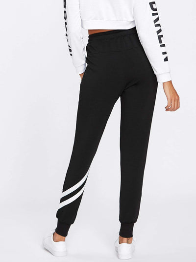 Drawstring Waist Striped Trim Sweatpants - Fittness Leggings