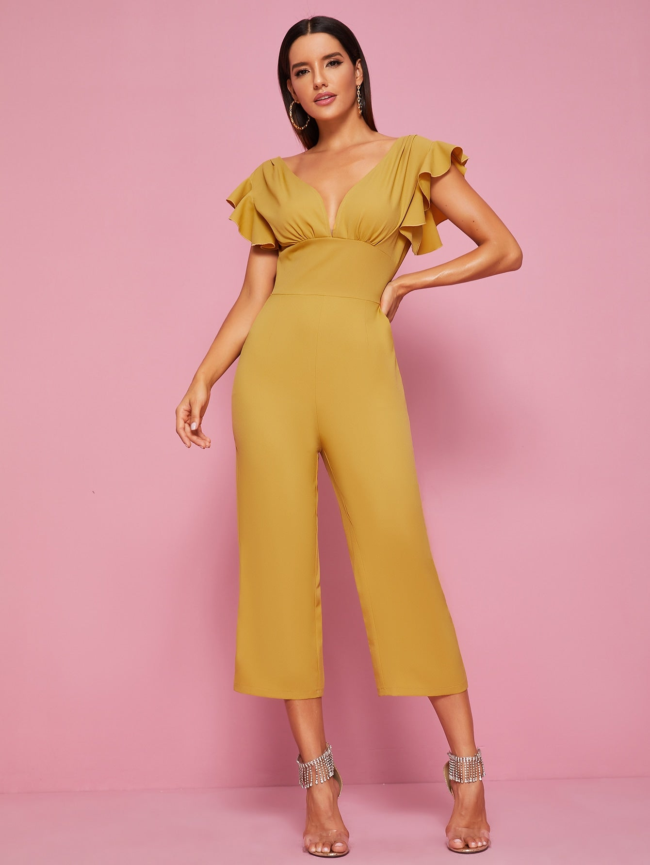 Solid Butterfly Sleeve Open Back Jumpsuit