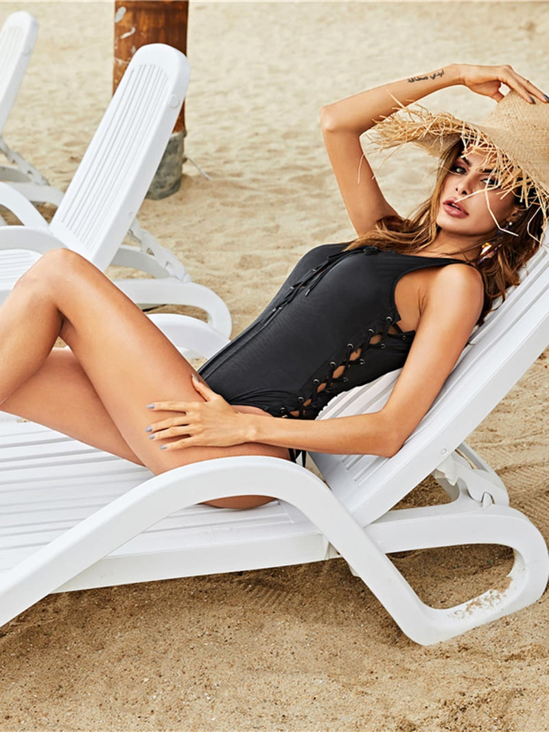 Backless Lace Up One-Piece Swimsuit