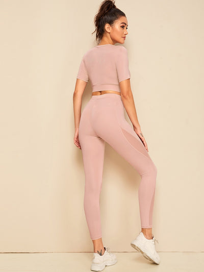 Form Fitting Tee & Mesh Insert Leggings Set