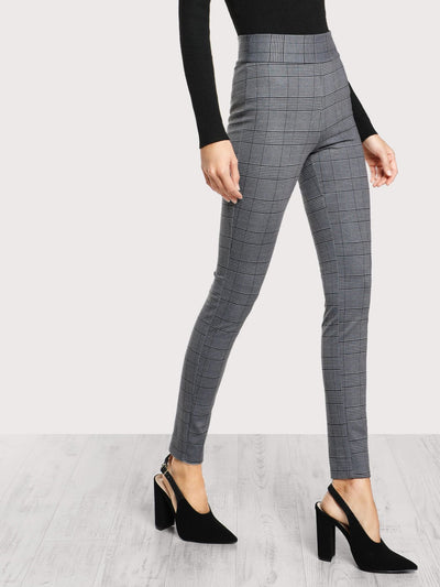 Elasticized Waist Plaid Leggings - Leggings