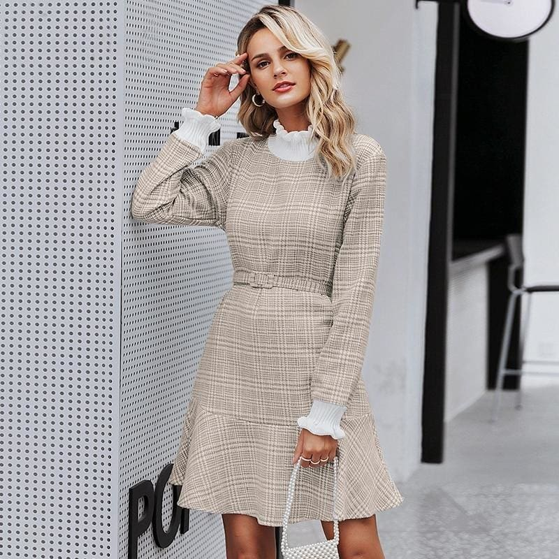 Elegant Plaid Knitted Ruffle Turtleneck Vintage Mini Office Dress