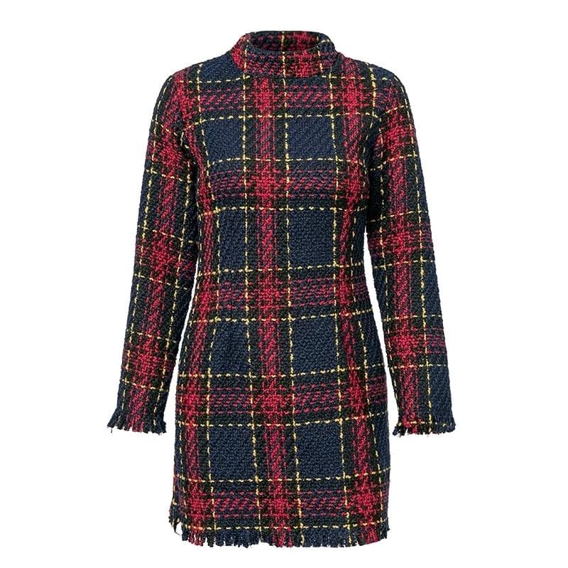 Elegant Plaid Tweed Office Vintage Knitted Mini Dress