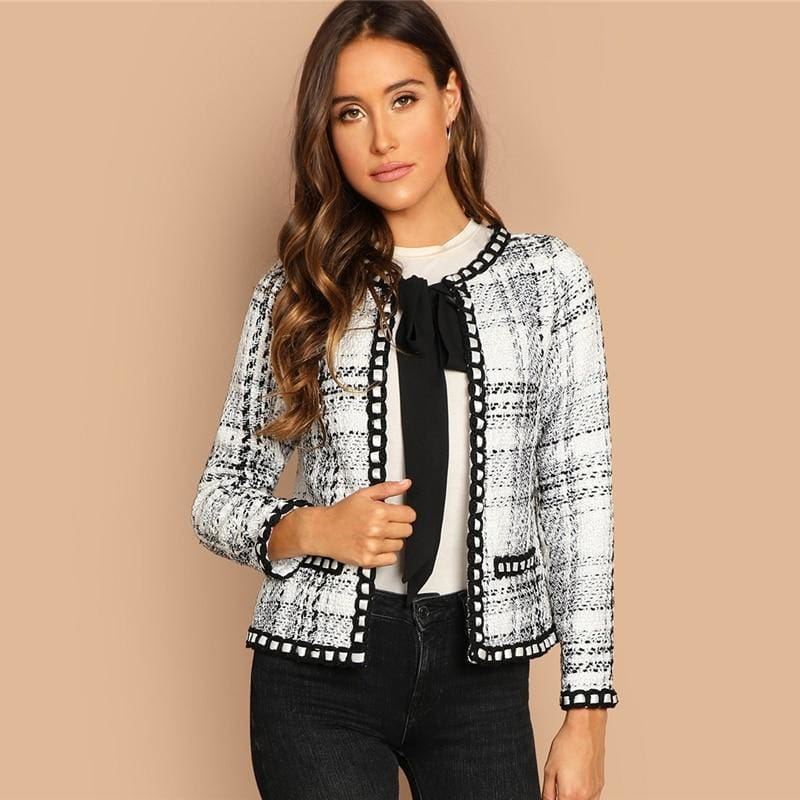 Elegant Tie Neck Whipstitch Detail Office Tweed Coat
