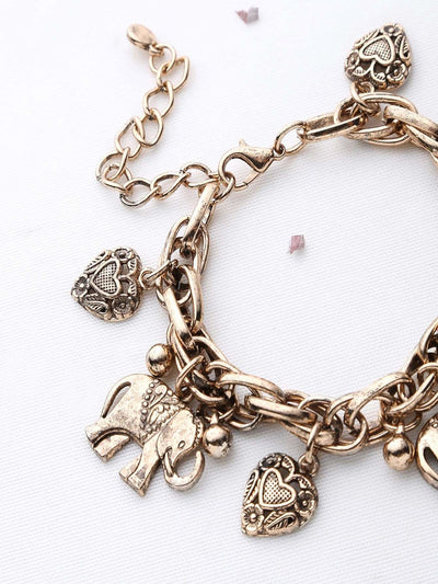 Elephant & Heart Shaped Charm Bracelet - Bracelets