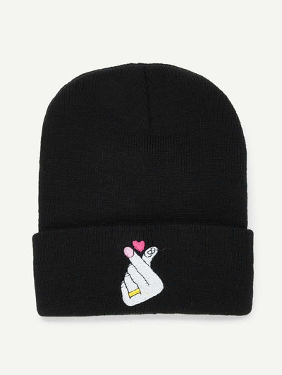 Embroidered Heart Beanie Hat - Hats & Gloves