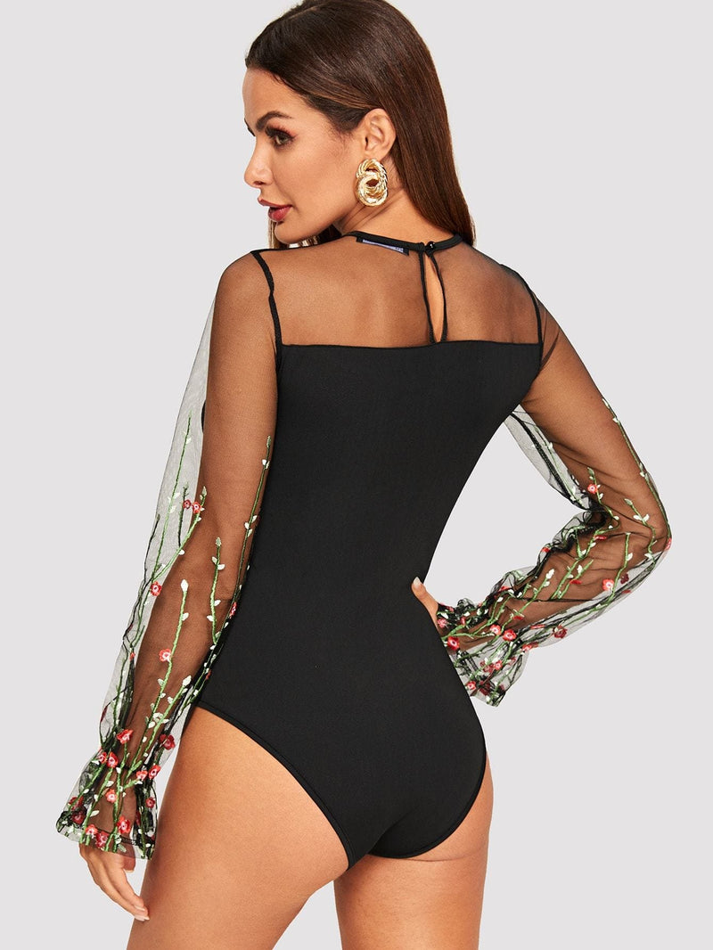 d86a4274d8 Embroidered Mesh Panel Form Fitted Bodysuit - S - Bodysuits