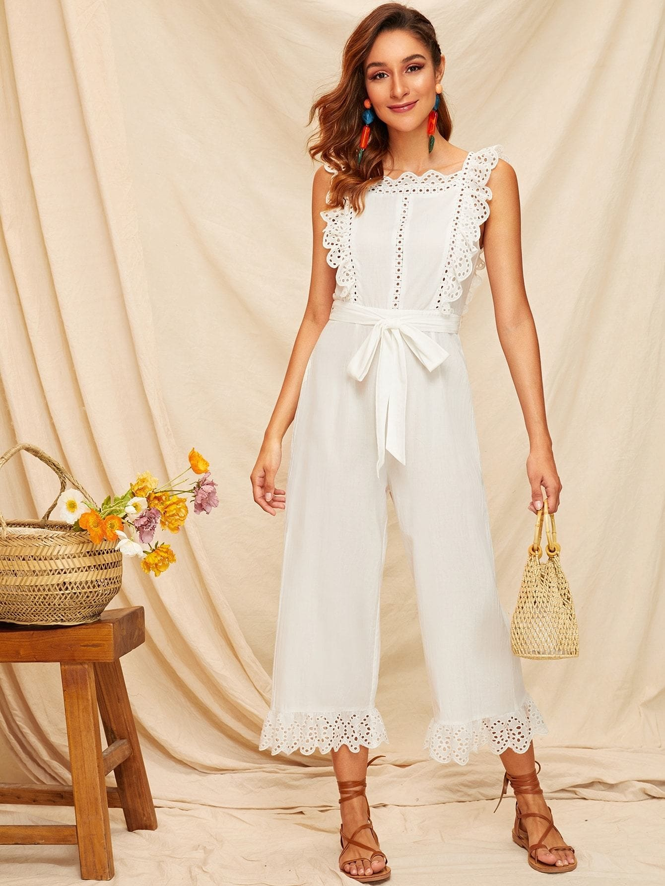 Embroidery Eyelet Scallop Trim Backless Wide Leg Jumpsuit