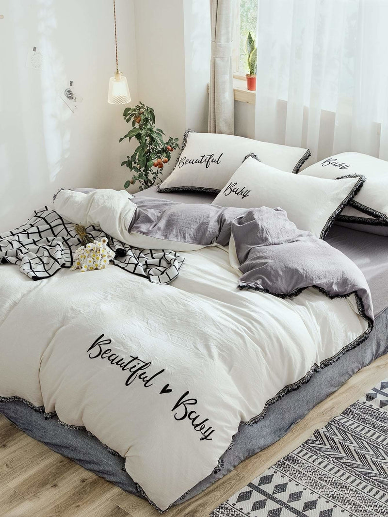 Embroidery & Letter Print Tassel Sheet Set - Bedding Sets