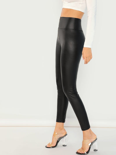 Exposed Zip Front Leggings - Leggings
