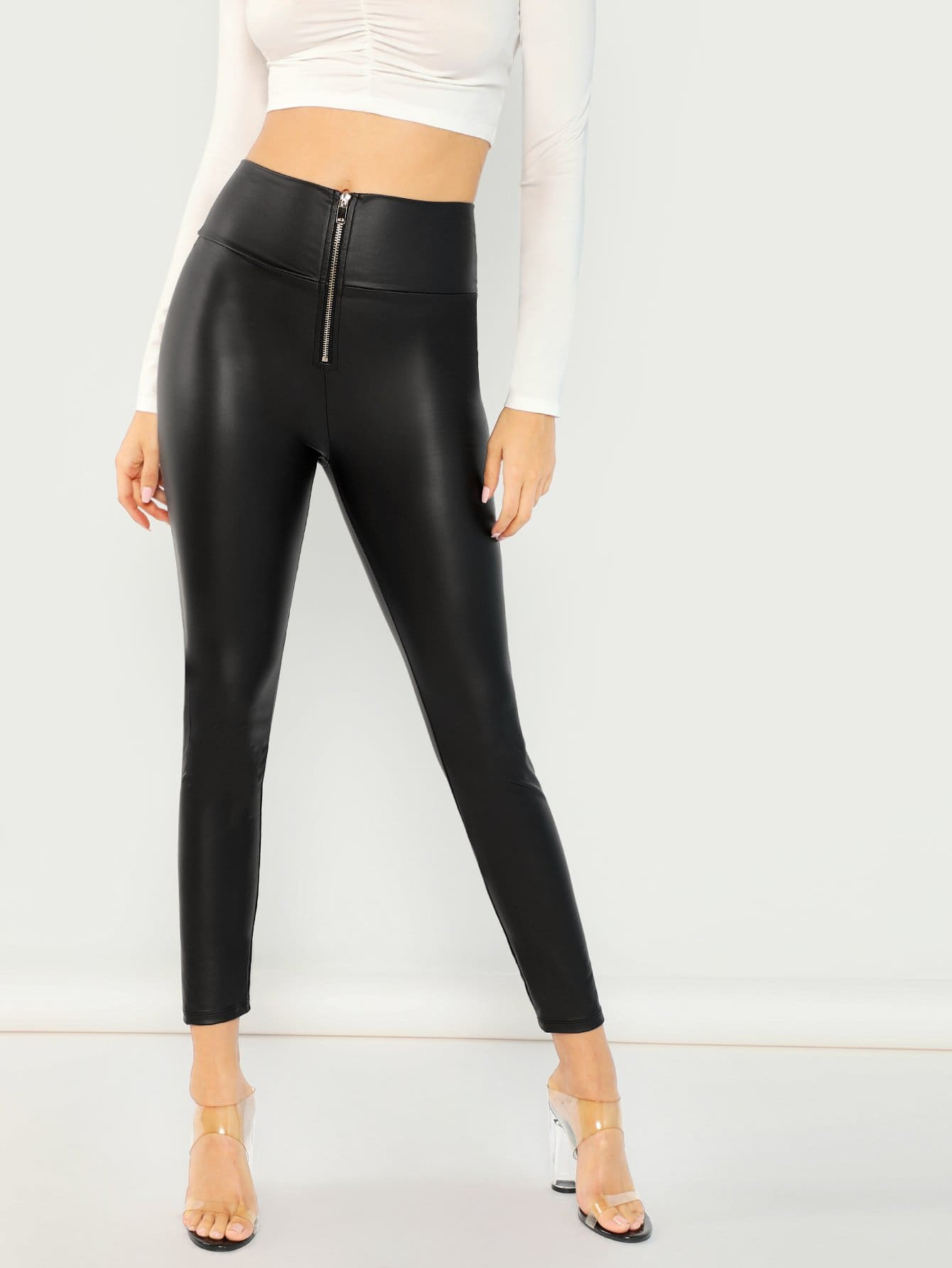 Exposed Zip Front Leggings