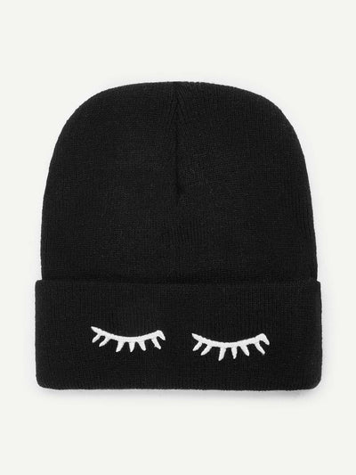 Eyelash Embroidery Beanie Hat - Hats & Gloves