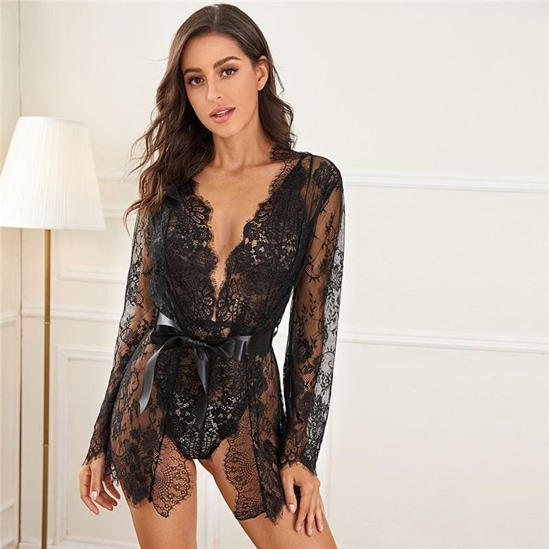 Eyelash Floral Lace Teddy Bodysuit With Robe 2Pcs - Black / L - Lingerie