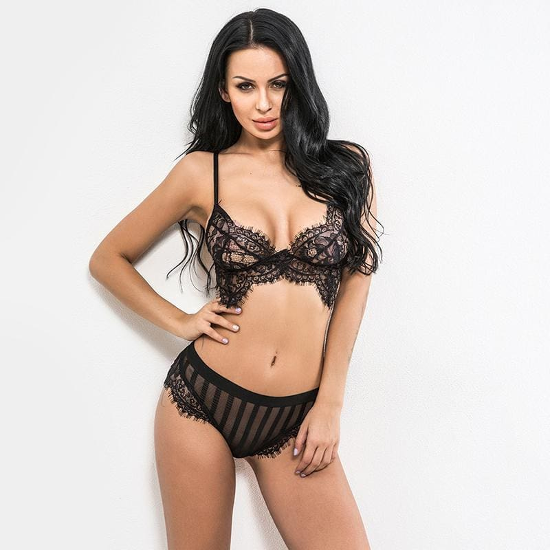 Eyelash Lace Bralette Striped Lingerie Set - BLACK / S - Lingerie