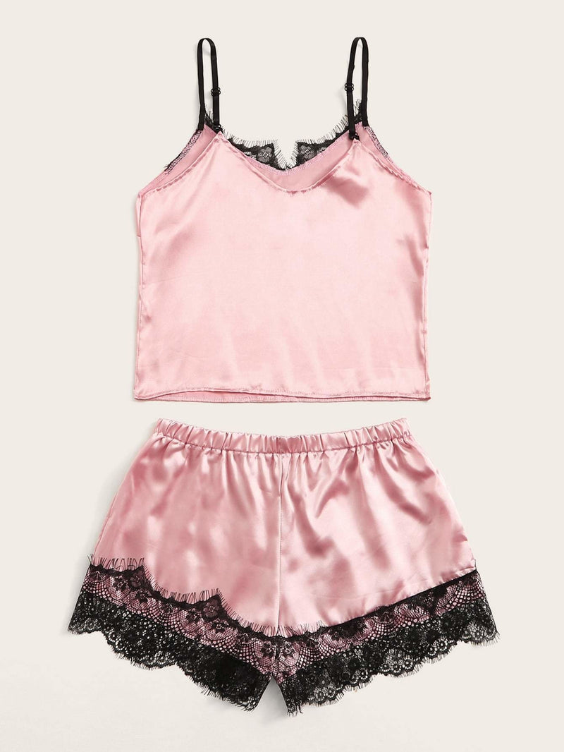 Eyelash Lace Satin Cami Pajama Set - S - Nightwears