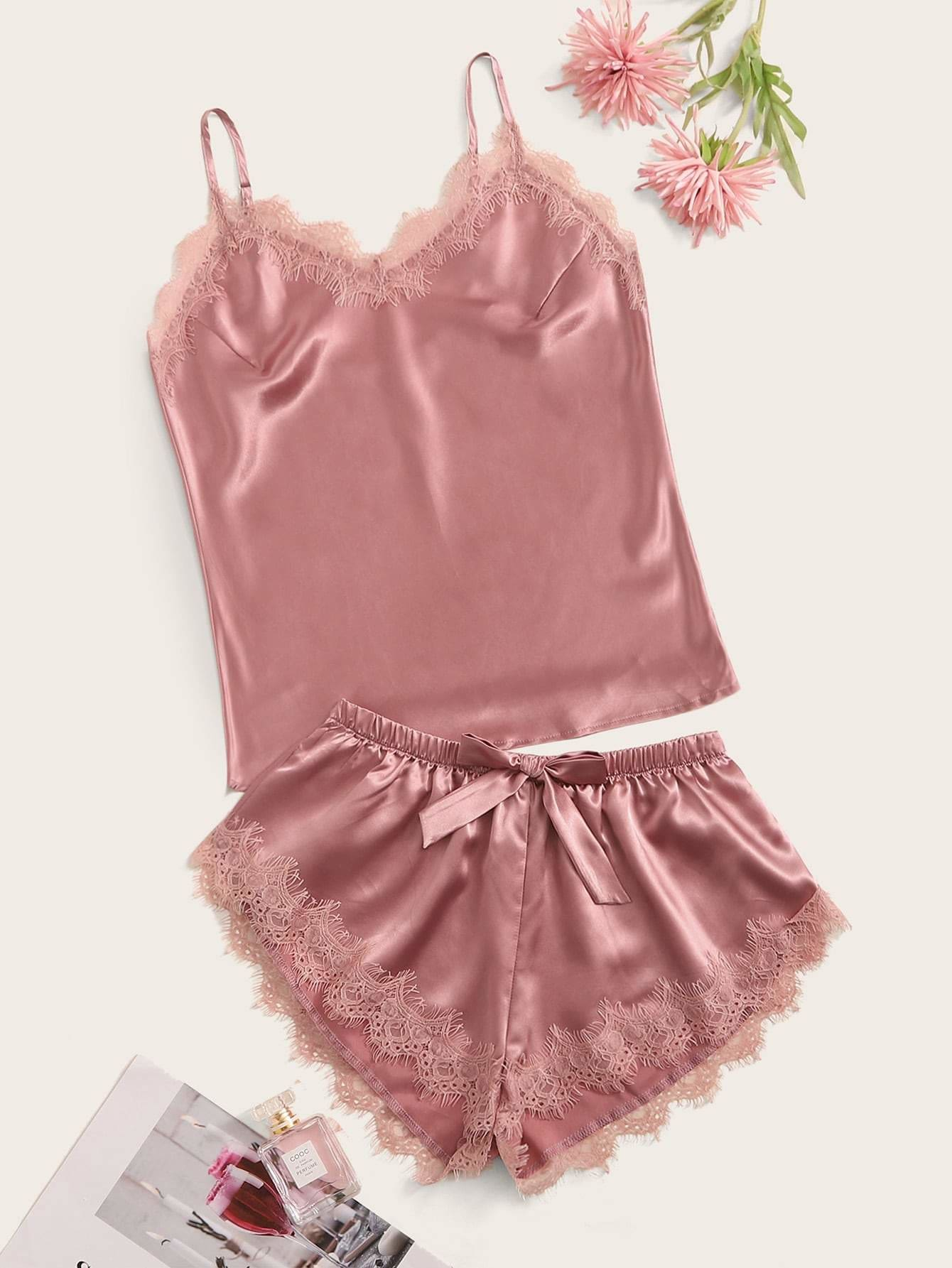 Eyelash Lace Satin Cami PJ Set - XS - Nightwears