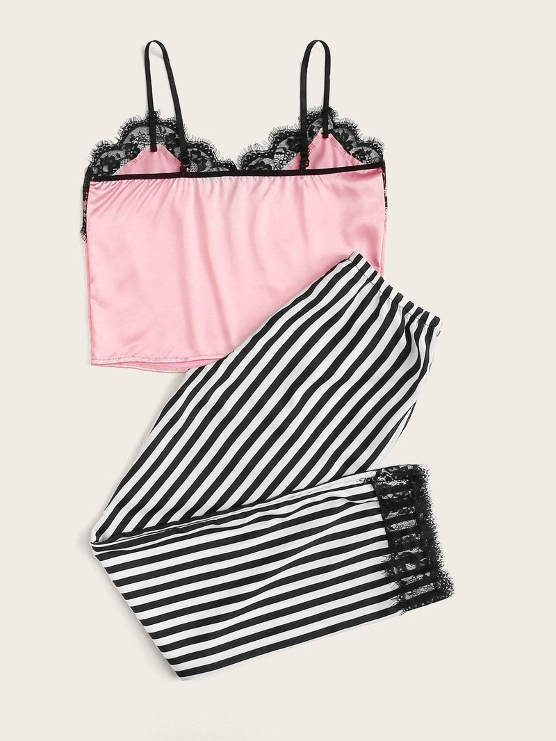Eyelash Lace Satin Cami With Striped Pants PJ Set - S - Nightwears