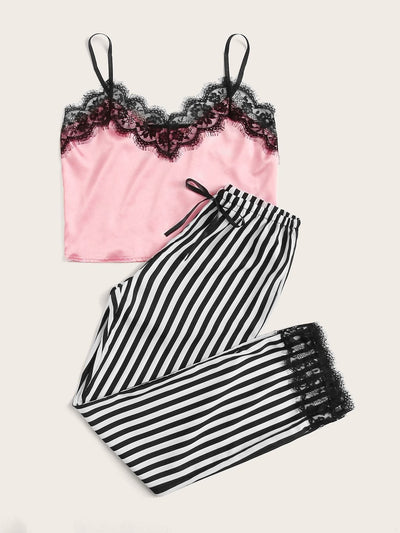 Eyelash Lace Satin Cami With Striped Pants PJ Set - Nightwears