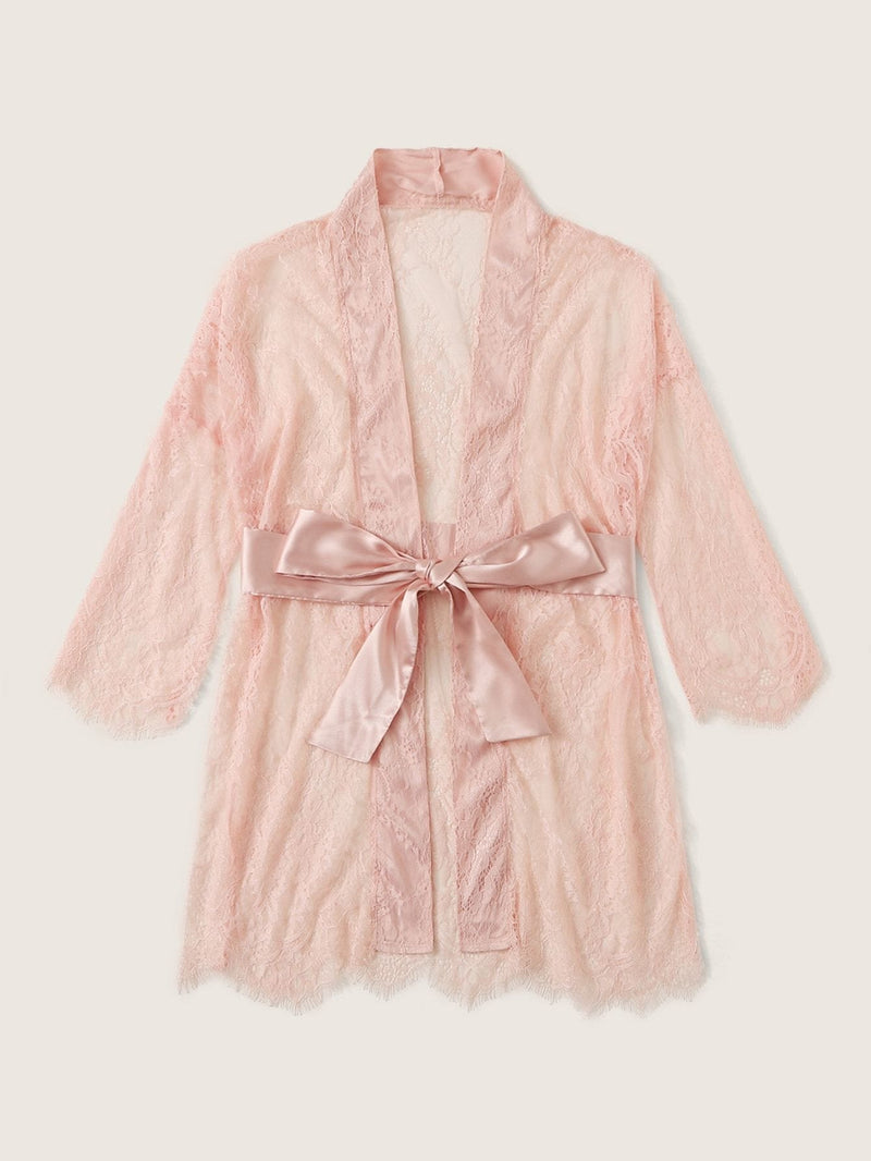 Eyelash Lace Self Belted Robe - S - Nightwears