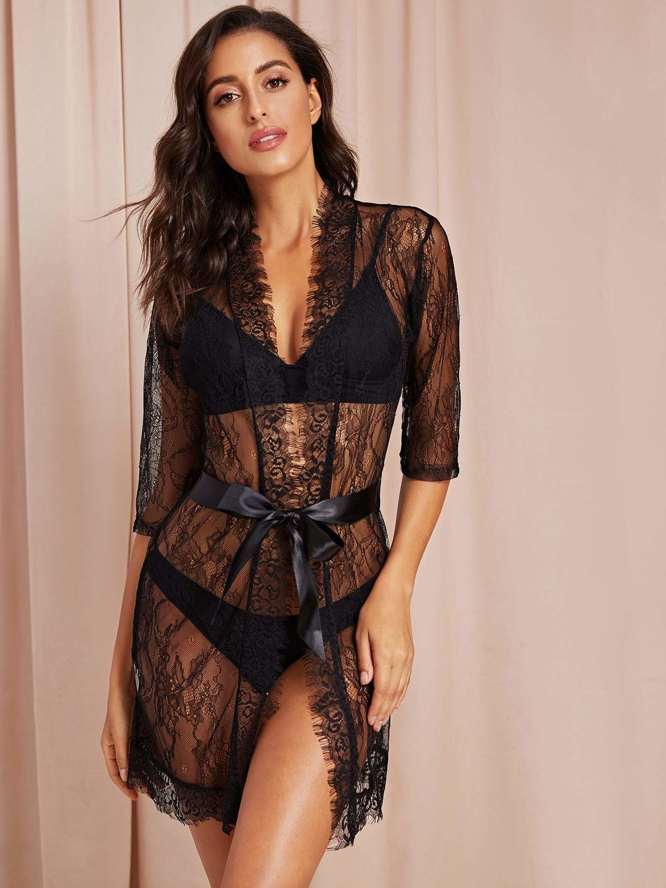 Eyelash Lace Sheer Belted Robe With Thong - S - Nightwears