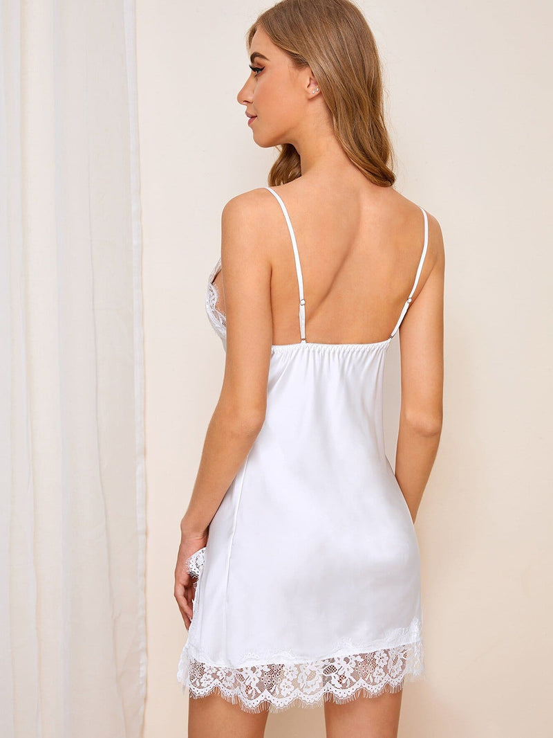 Eyelash Lace Split Satin Cami Nightdress - S - Nightwears