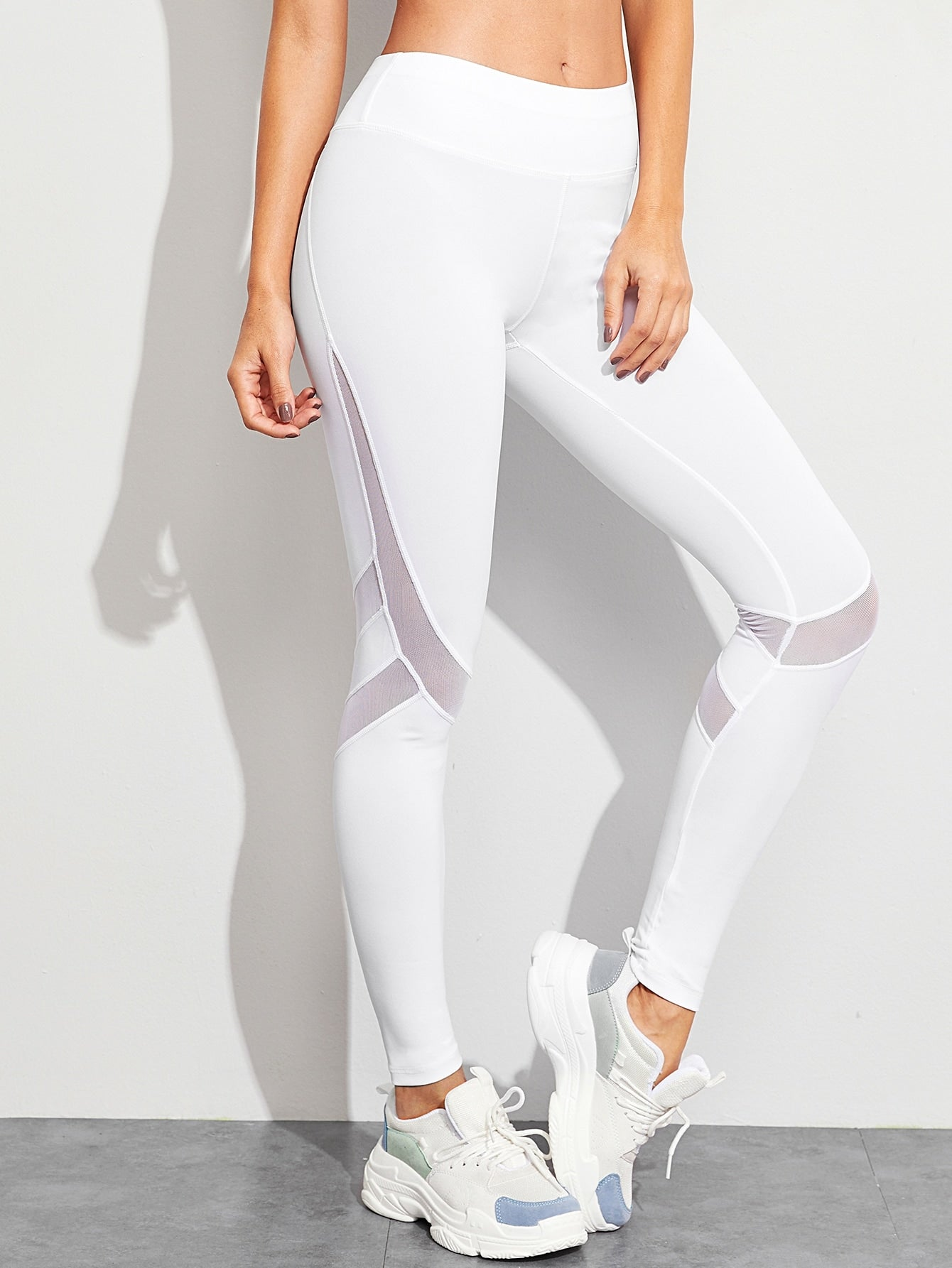 Mesh Panel Contrast Topstitching Leggings