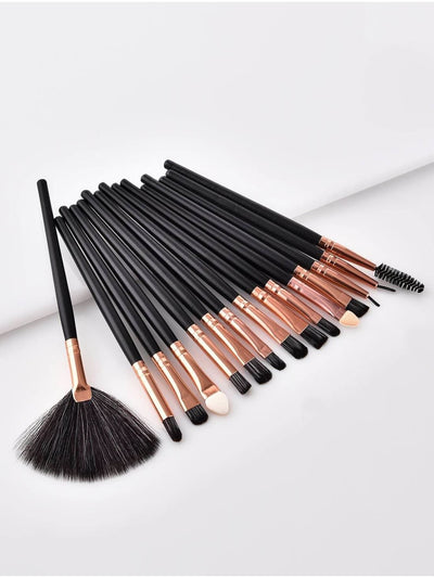 Fan Shaped Makeup Brush 15Pcs - Makeup Brushes