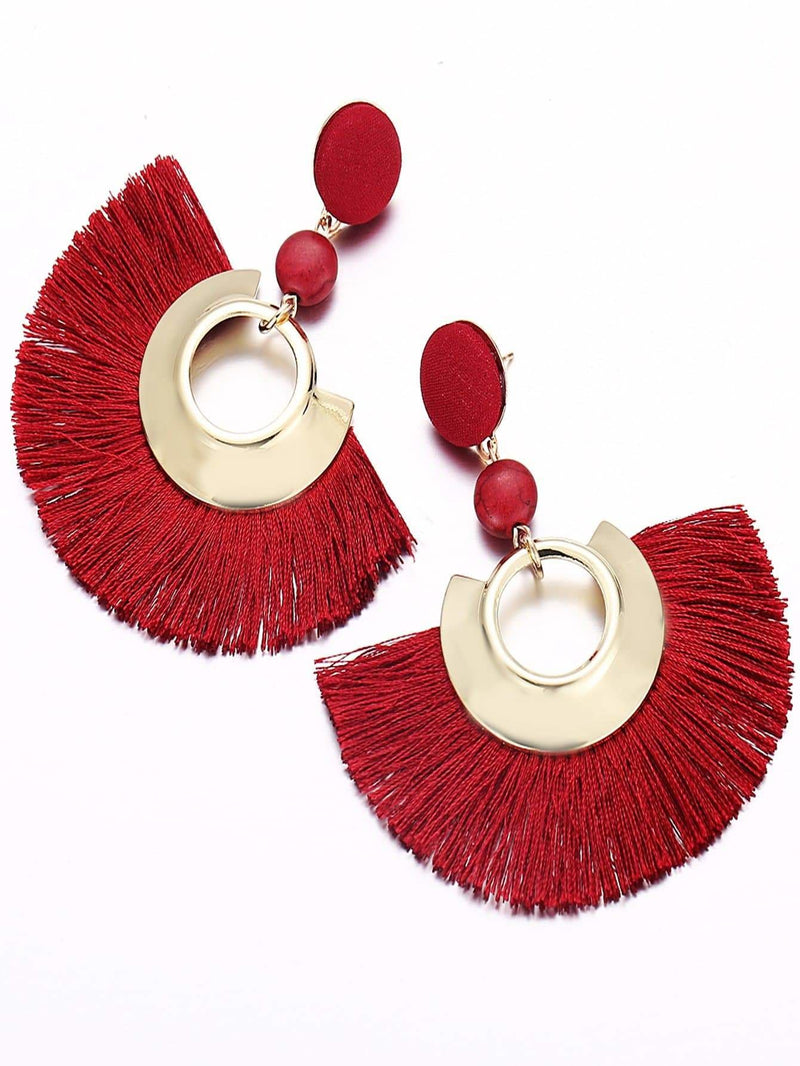 Fan Shaped Open Tassel Drop Earrings - Earrings