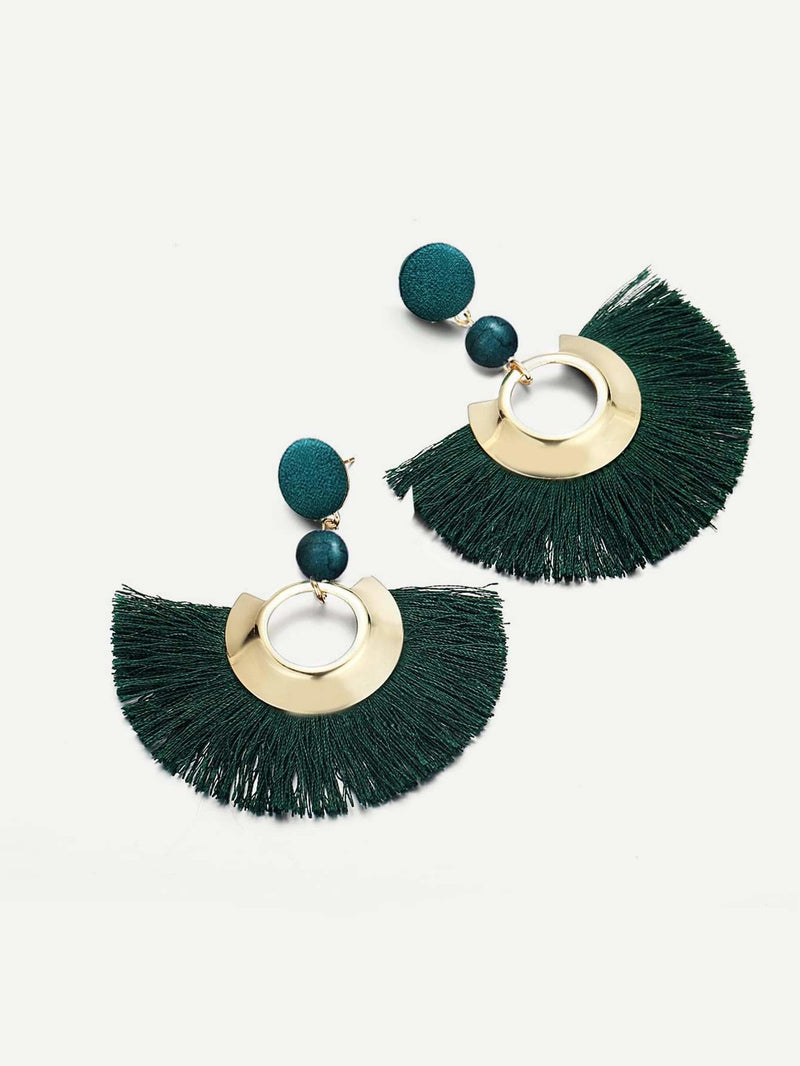 Fan Shaped Open Tassel Festival Drop Earrings - Earrings