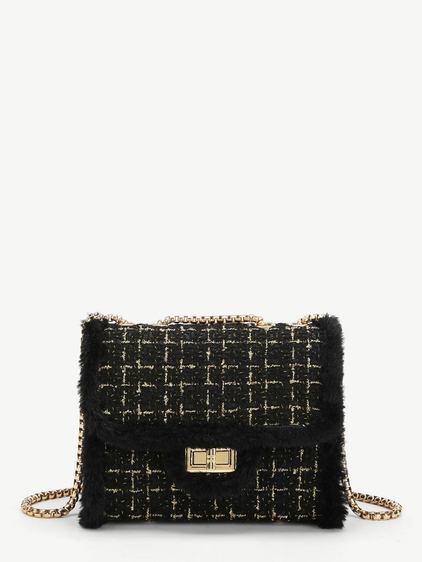 Faux Fur Decor Chain Crossbody Bag - Womens Bag