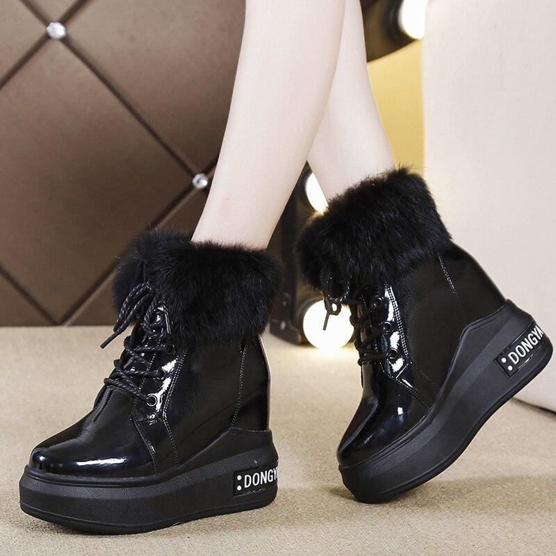 Faux Fur Warm Boots Platform Sneakers - Black / 6 - Womens Sneakers