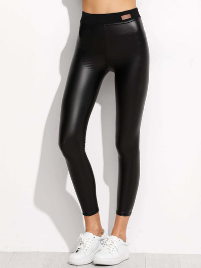 Faux Leather Ankle Leggings - Leggings