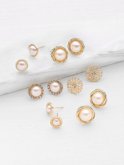 Faux Pearl And Rhinestone Design Stud Earring Set - Earrings