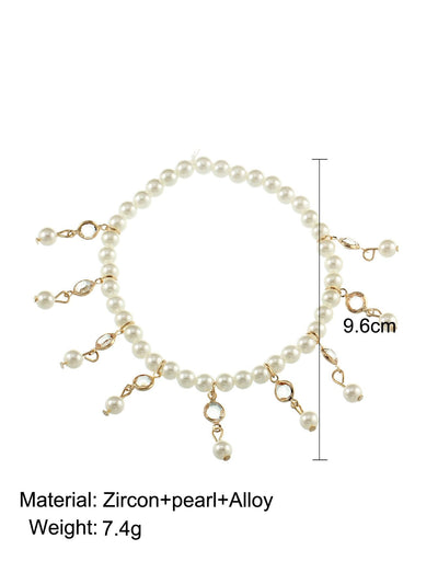Faux Pearl & Crystal Decorated Beaded Festival Body Jewelry - Body Jewelry