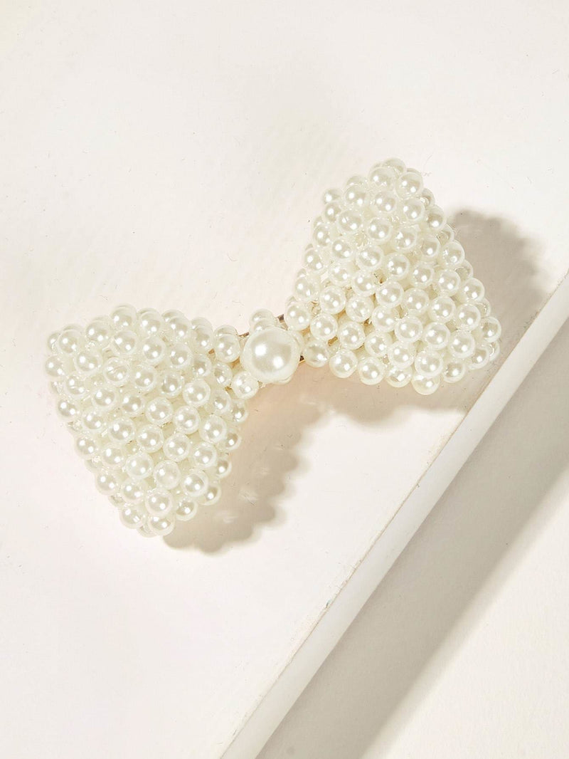 Faux Pearl Decor Bow Shaped Hair Clip - Hair Accessories