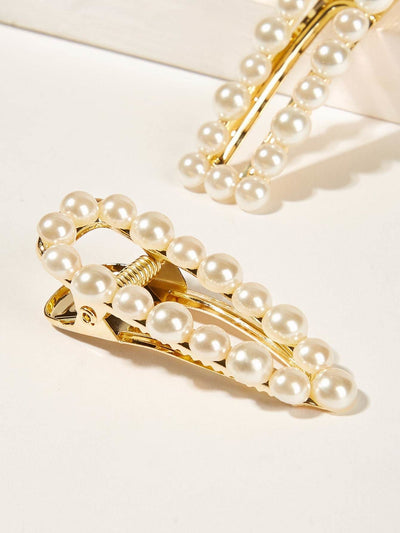 Faux Pearl Decor Hair Snap Clip 2pack - Hair Accessories