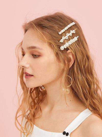 Faux Pearl Decor Hairpin 3pack - Hair Accessories