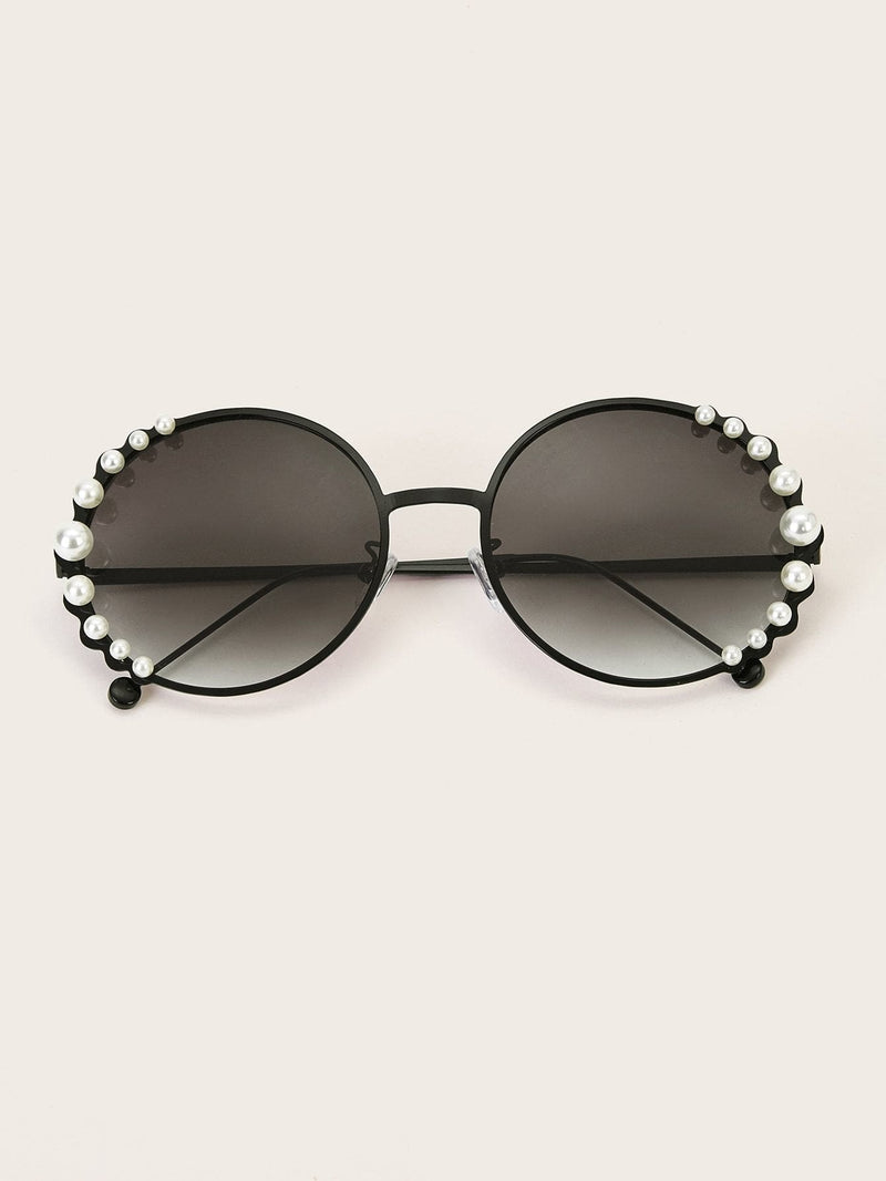 Faux Pearl Decor Round Frame Sunglasses - Sunglasses