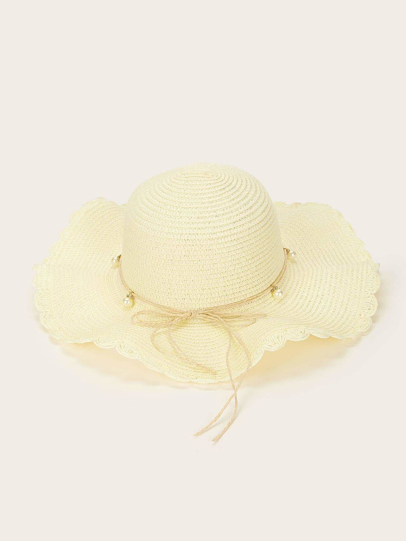 Faux Pearl Decor Scalloped Trim Floppy Hat