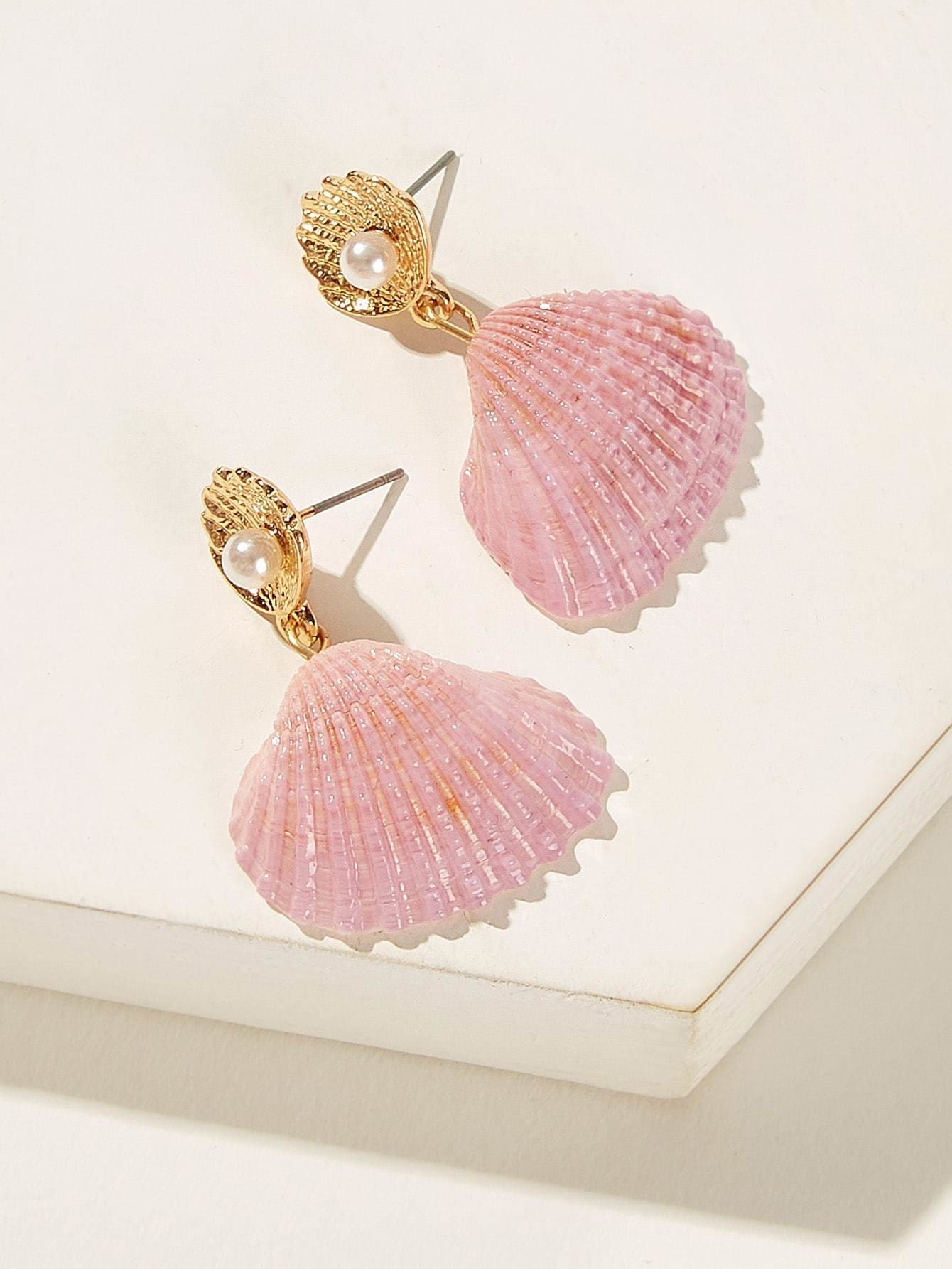 Faux Pearl Decor Shell Drop Earrings 1pair - Earrings