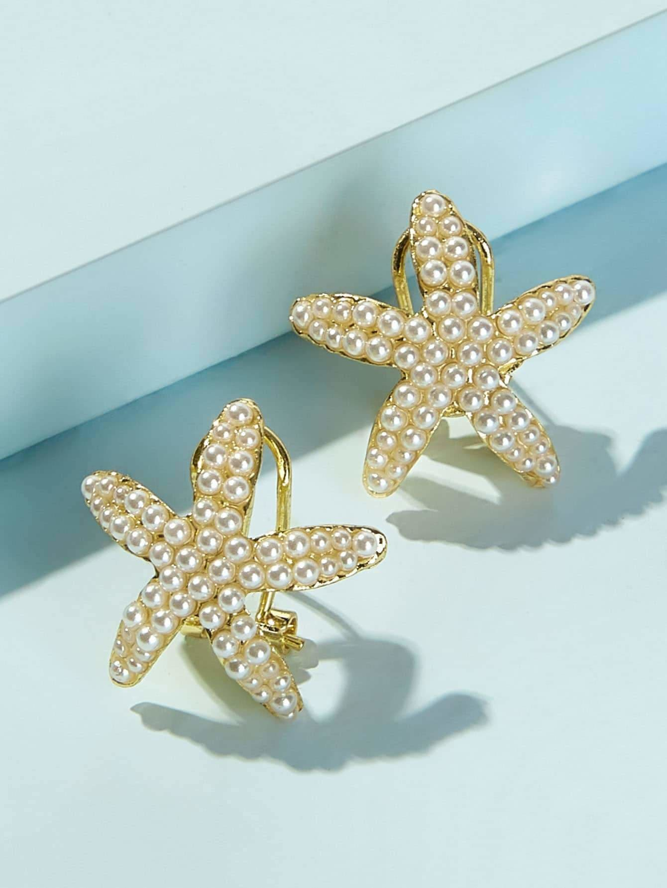 Faux Pearl Decor Starfish Stud Earrings 1pair - Earrings